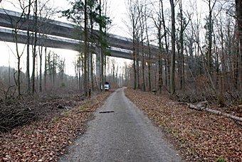 Waldstrasse unter der Autobahnbrücke bei Schinznach