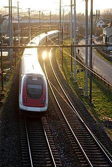 Eisenbahn in der Abendsonne Winterthur
