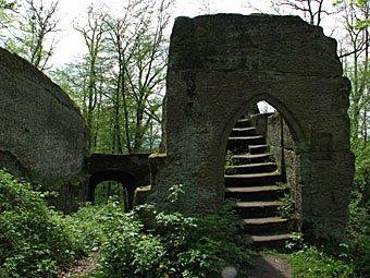Ruine Rotenhan zwei Kilometer nördlich von Ebern über dem Ortsteil Eyrichshof im Landkreis Haßberge in Unterfranken.
