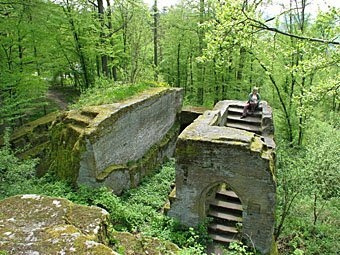 Burgruine Rotenhan zwei Kilometer nördlich von Ebern über dem Ortsteil Eyrichshof im Landkreis Haßberge in Unterfranken.